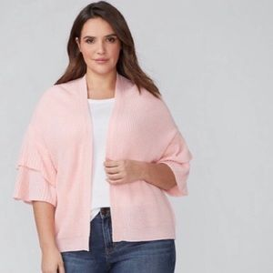 Lane Bryant Pink Textured Ruffle Bell Sleeve 22 24